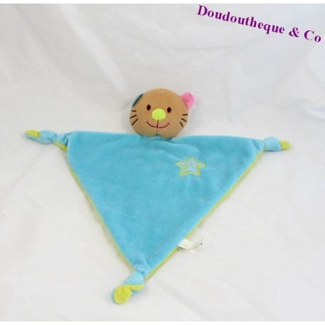 Doudou plat Chat CREATIVTOYS bleu vert lodange triangle etoile noeuds