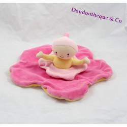 Doudou plat poupée KATHERINE ROUMANOFF MOULIN ROTY fleur rose jaune Dim Dam Doum