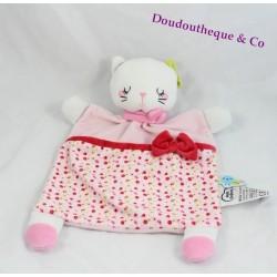 Doudou plat chat MOTS D'ENFANTS rose fleurs noeuds 30 cm