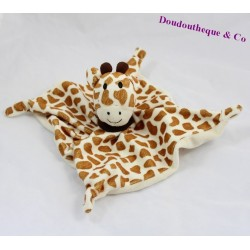 Doudou plat girafe LES CHATOUNETS tâches marron 26 cm