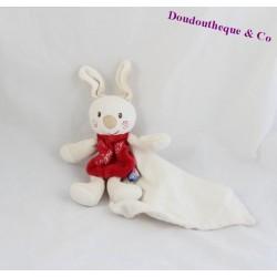 Doudou mouchoir lapin SUCRE D'ORGE cajou rouge 20cm