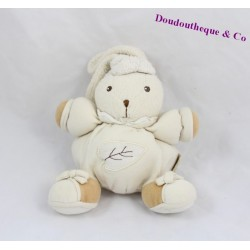 Doudou boule lapin KALOO pure feuille blanc 17 cm