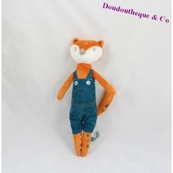 Doudou renard KIMBALOO salopette bleu 28 cm