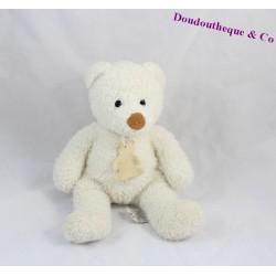 Doudou ours HISTOIRE D'OURS blanc poil long 25 cm
