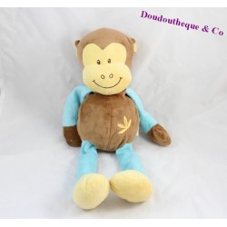 Doudou singe DOUKIDOU / DOU KIDOU 40cm marron et bleu