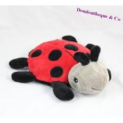 Peluche bouillotte coccinelle CLOUD B rouge noir 27 cm