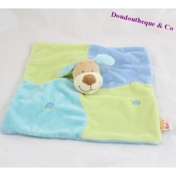 Doudou plat marionnette carré chien DOUKIDOU DOUKI DOU vert et bleu 27 cm