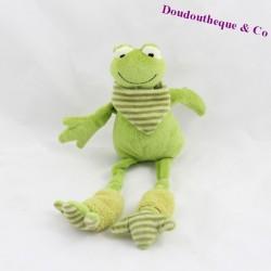 Peluche grenouille LES PETITES MARIE vert longues jambes 30 cm