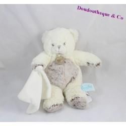 Doudou ours BABY NAT' Les Flocons ourson blanc marron avec mouchoir 20 cm
