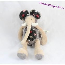Doudou Baou éléphant MOULIN ROTY Les Zazous gris beige 25 cm