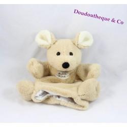 Doudou marionnette souris HISTOIRE D'OURS beige HO1278 24 cm