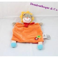 Doudou plat lion MOTS D'ENFANTS orange jaune champignon 30 cm