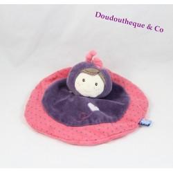 Doudou plat poupée SUCRE D'ORGE fille rose violet coeur 20 cm