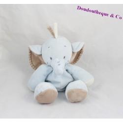 Plush elephant NATTOU funny blue Brown 28 cm