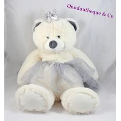 Peluche oursonne ETAM range pyjama-doudou-bouillotte ours blanc princesse 48 cm