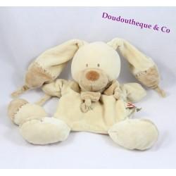 Doudou marionnette lapin NICOTOY Bastien beige croix brodées coeur grelot