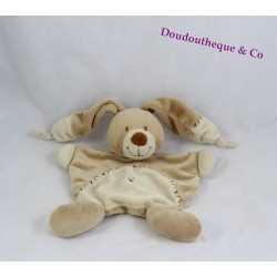 Doudou flat rabbit NICOTOY Bastien cross embroidered beige 20 cm