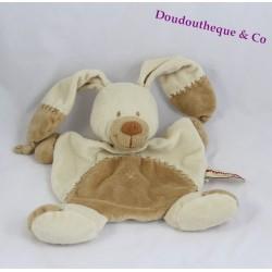 Doudou plat Bastien lapin NICOTOY beige croix brodées marron 25 cm
