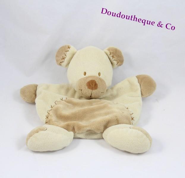 doudou plat ours nicotoy croix brod es beige marron 20 cm sos doudou. Black Bedroom Furniture Sets. Home Design Ideas