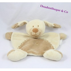 Dog flat Doudou beige Brown embroidered cross 20 cm NICOTOY