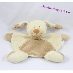 Doudou plat chien NICOTOY croix brodées beige marron 20 cm