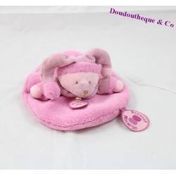 Doudou plat ours DOUDOU ET COMPAGNIE Douceur macaron rose 16 cm