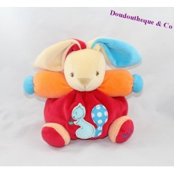 Doudou rabbit KALOO blue orange red squirrel 18 cm ball