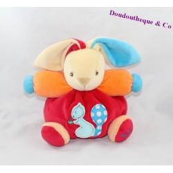 Doudou rabbit KALOO blue orange red squirrel 18 cm ball