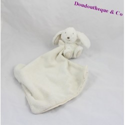 Doudou handkerchief White Rabbit Augustin bread and chocolate cream 12 cm