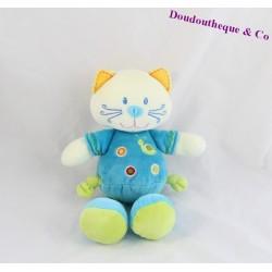 Peluche chat NICOTOY bleu vert escargot 23 cm