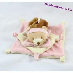 Doudou plat ours DOUDOU ET COMPAGNIE rose, bonnet marron 16 cm
