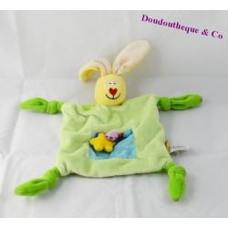Doudou rabbit TAF TOYS green blue nodes 22 cm dish