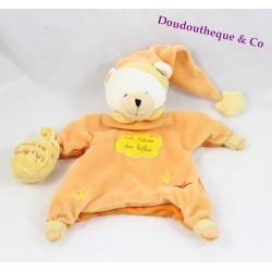 Doudou marionnette ours BABY NAT' orange jaune un rêve de bébé poudre à dormir