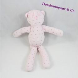Doudou chat BOUT'CHOU Monoprix rose clair étoiles grises 29 cm