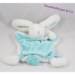 Doudou plat lapin DOUDOU ET COMPAGNIE Pompon amande bleu 28 cm