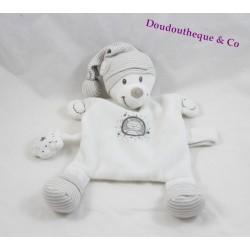 Doudou plat ours NICOTOY blanc gris bonnet rayé étoile 29 cm