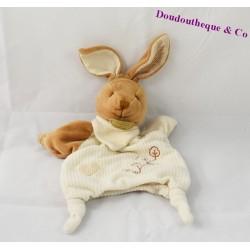Doudou marionnette lapin DOUDOU ET COMPAGNIE Bio blanc marron 26 cm