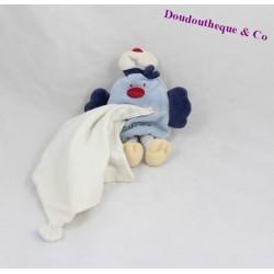 Doudou mouchoir oiseau marin SUCRE D'ORGE cajou bleu 20 cm