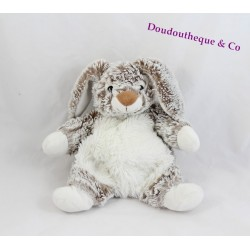 Doudou lapin CASINO marron blanc chiné Bébé Rêve 22 cm