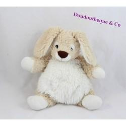 Doudou lapin CASINO beige blanc  poils doux 22 cm