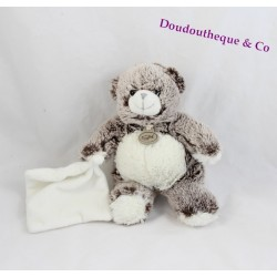Doudou ours BABY NAT' Les Flocons marron mouchoir blanc 22 cm