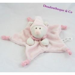 Doudou plat souris MAX & SAX rose étoile Carrefour marionnette 33 cm