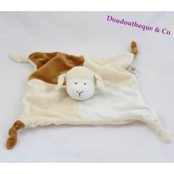 Doudou plat mouton LASCAR PELUCHE beige marron 28 cm