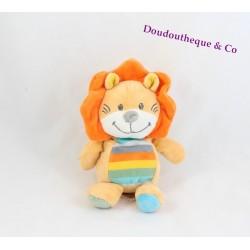 Peluche lion TEX BABY ventre rayé multicolore 17 cm
