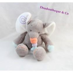 Mini plush elephant NATTOU Bubbles gray rattle Bell 15 cm