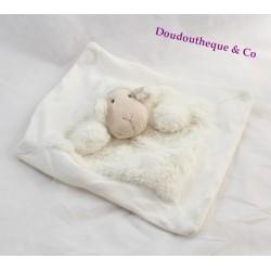 Doudou plat mouton QUAX blanc beige 25 cm