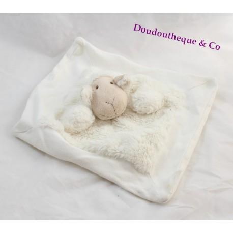 doudou plat mouton quax blanc beige 25 cm sos doudou. Black Bedroom Furniture Sets. Home Design Ideas