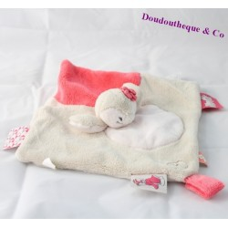 Flat Doudou Daisy penguin NOUKIE'S Daisy and Coco pink beige 25 cm