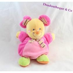 Doudou souris MOTS D'ENFANTS rose foulard multicolore 24 cm