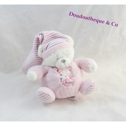 Doudou musical ours MAX & SAX rose lune Moon Carrefour 17 cm